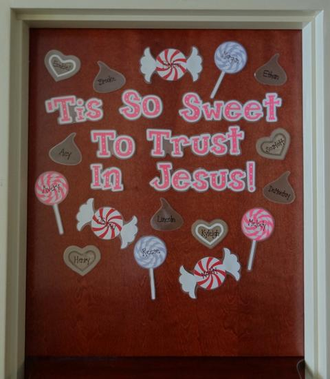 Christian Valentine's Day Door Display and Bulletin Board Idea