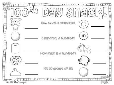 100th Day Snack Math Freebies Supplyme
