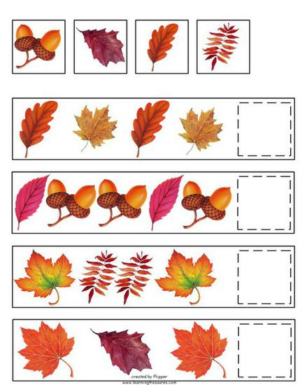 Fall and Autumn Math Patterning Preschool Printable
