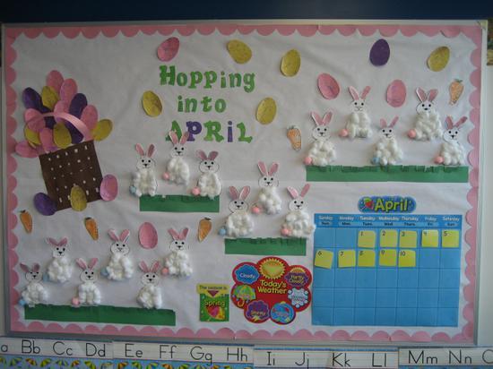 November Calendar Bulletin Board Ideas : Hopping into april bulletin board idea supplyme