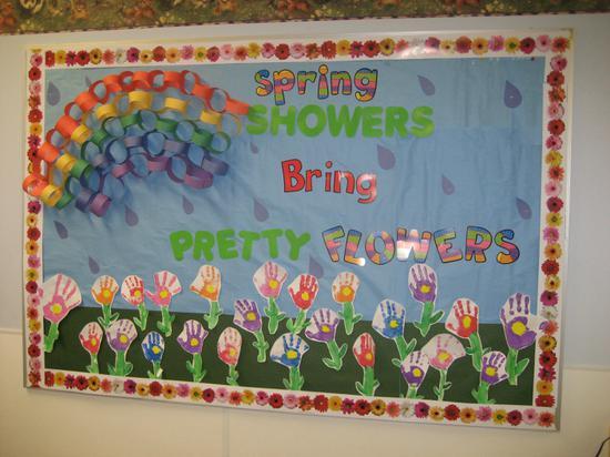 Spring Showers Bring Pretty Flowers Bulletin Board Idea