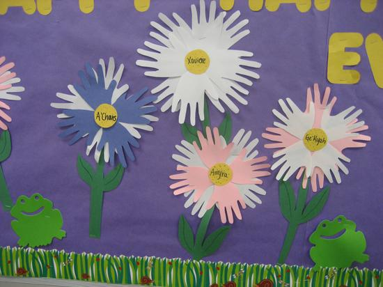 Construction Paper Hand Print Flower Craft