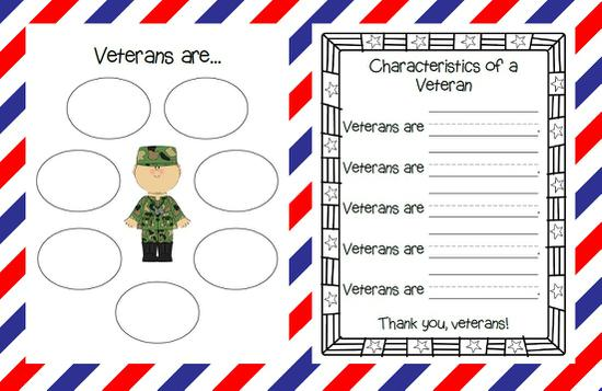 Veterans Day Organizer and Simple Sentence Writing Printables
