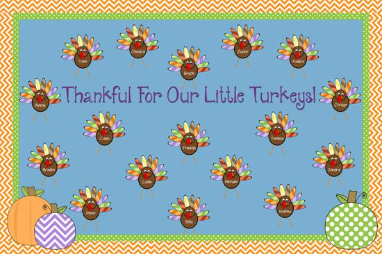 Thankful For Our Little Turkeys Thanksgiving Bulletin Board Supplyme