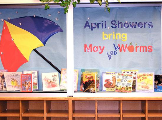 April Showers Bring May Bookworms Spring Bulletin Board Idea