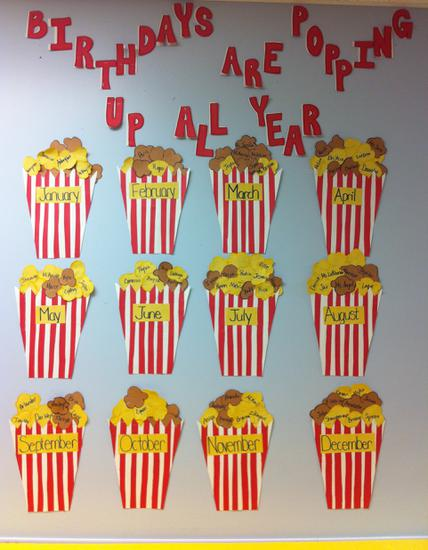 Popcorn Birthday Bulletin Board Idea