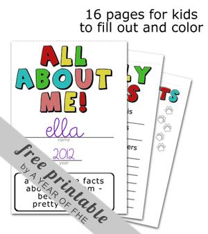 Back To School and All About Me Preschool Printable