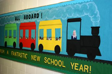 All Aboard! Back-to-School Train Bulletin Board Idea ...