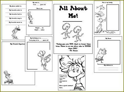 image relating to All About Me Book Preschool Printable known as Dr. Seuss All Around Me Reserve SupplyMe