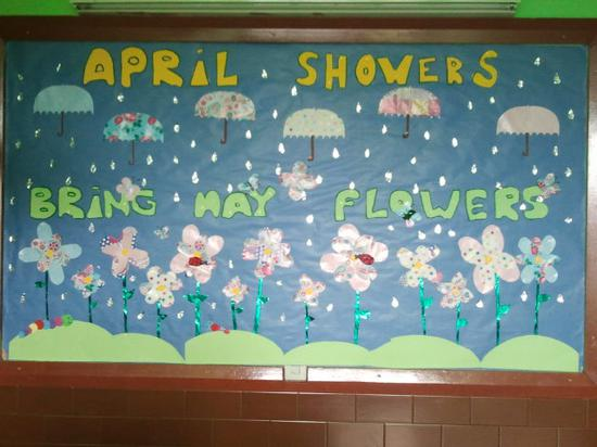 April Showers Bring May Flowers Spring Bulletin Board Idea Supplyme