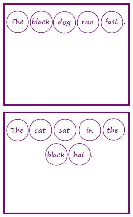 example sentence cards for bottle top sentence building activity