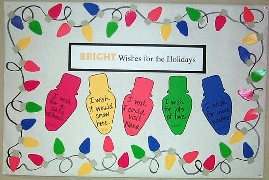 Bright Wishes For The Holidays Christmas Lights Bulletin Board Idea Supplyme