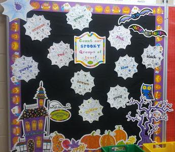 Preschool and Kindergarten Halloween Math and Literacy Bulletin Board Idea