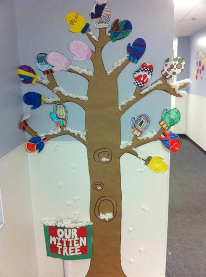 Christmas Tree Display Board.Mitten Tree Winter Classroom Display Supplyme