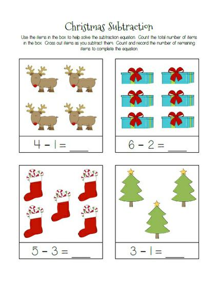 Christmas Themed Subtraction Practice Worksheets – SupplyMe