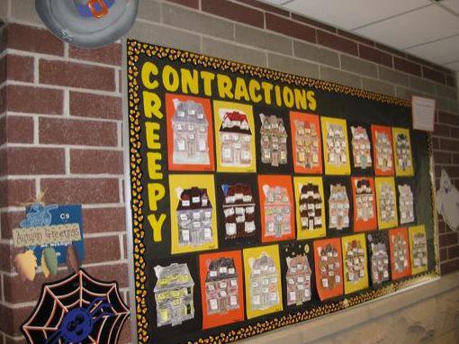Creepy Contractions Halloween Language Arts Bulletin Board Idea