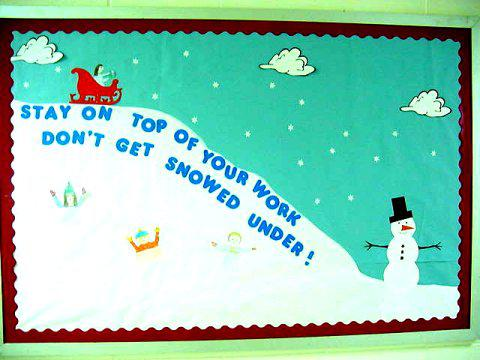 Motivational Winter Sledding Bulletin Board Idea