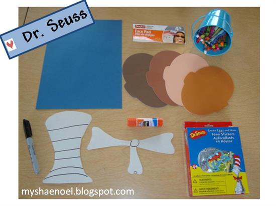 Supplies for Cat in the Hat Craft for Dr. Seuss Celebration