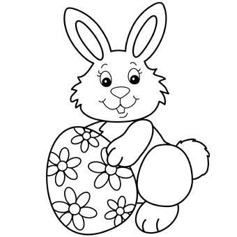 Easter Bunny Coloring Page and Spring Bulletin Board Idea