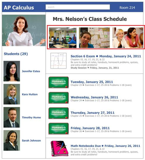 facebook themed weekly schedule classroom display