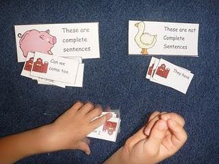 Literacy Center Sentence and Word Family Sorting Preschool Printables