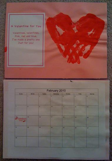 homemade calendar for february with hand print heart and poem