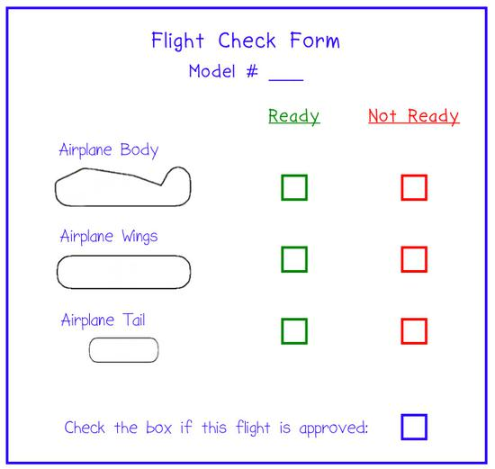 example lesson worksheet where students perform a sample flight check
