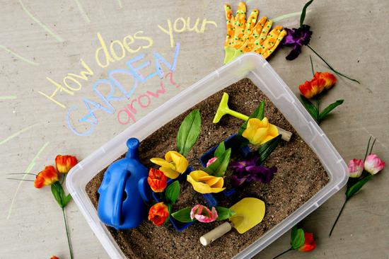 Spring Garden and Flower Sensory Bin and Preschool Lesson Plan