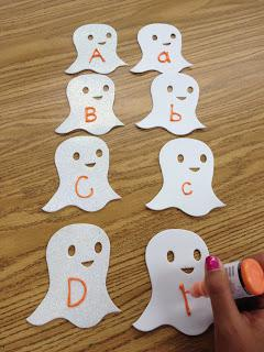 Ghost Themed Halloween Literacy Centers and Kindergarten Lesson Plan