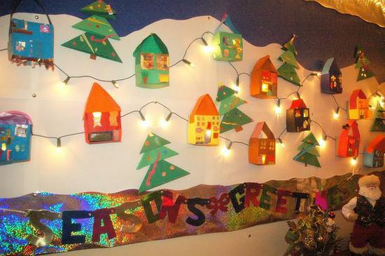 Light Up Gingerbread Village Christmas Bulletin Board