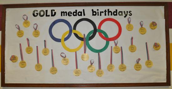 Summer Olympics and Sports Themed Birthday Bulletin Board Idea