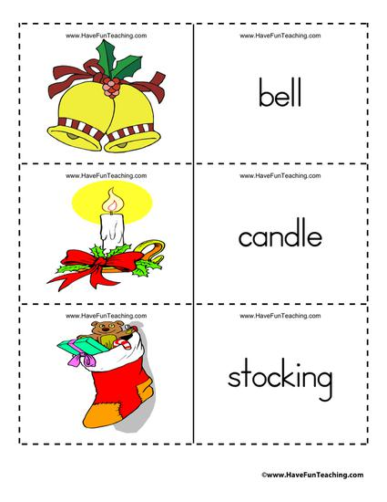 Christmas themed vocabulary flash cards