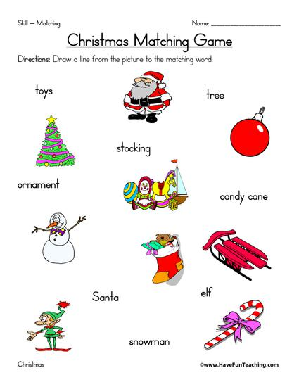 Christmas themed matching worksheet