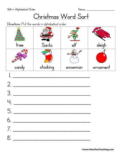 Christmas themed word sort worksheet