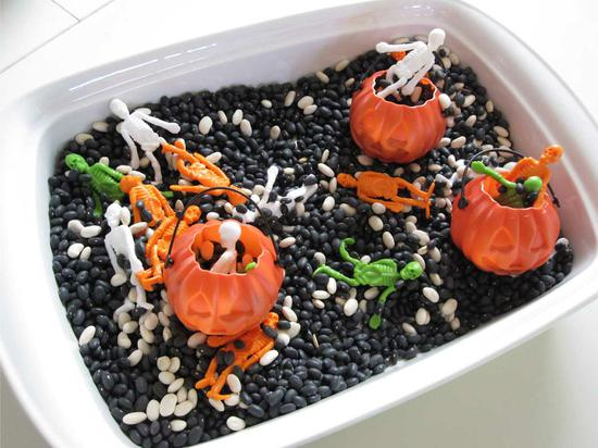 corningware baking dish filled with Halloween objects