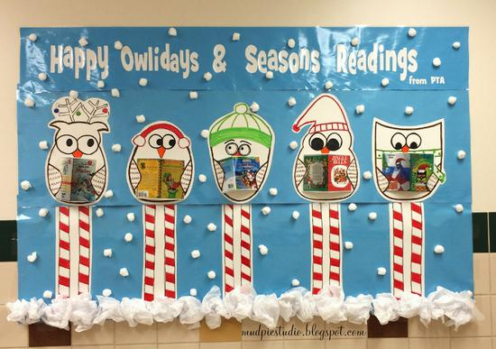Owl Themed Reading and Holiday Bulletin Board Idea