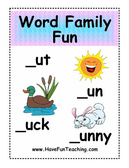 worksheets for learning about word families