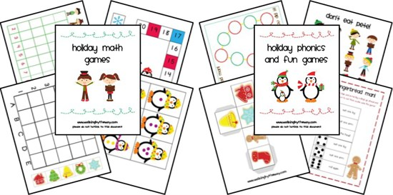 Winter and Christmas Math and Phonics Preschool Printables