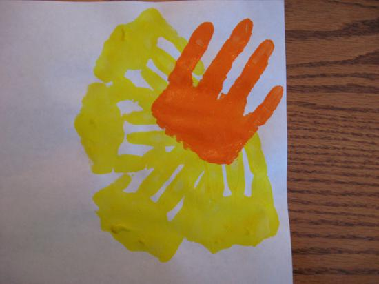 hand print flower petals in yellow and orange