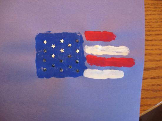 hand print flag with silver stars