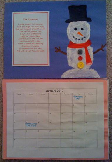 handprint snowman and poem calendar page