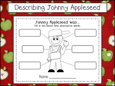 Johnny Appleseed Writing and Math Preschool Printables