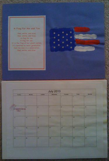 homemade july calendar page with hand print flag and flag poem