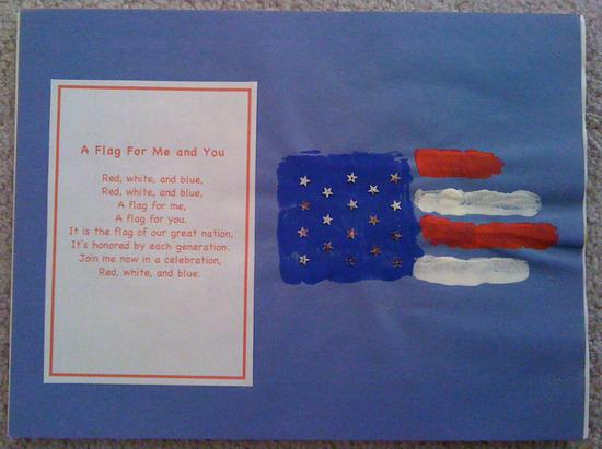 hand print flag and fourth of july poem