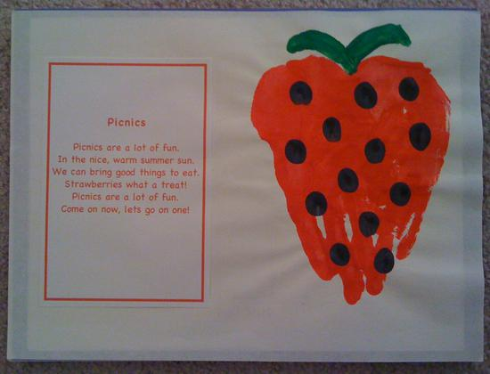 Summer Strawberry Hand Print Craft for Kids