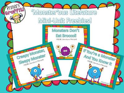 Monster Themed Halloween Literacy Kindergarten Printables and Kindergarten Lesson Plan
