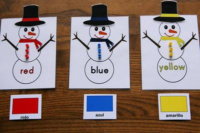 Christmas and Winter Snowman Color Matching Preschool Lesson Plan and Printable