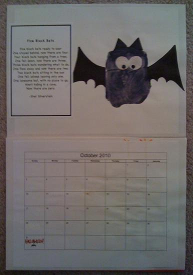 homemade october calendar with hand print bat and poem