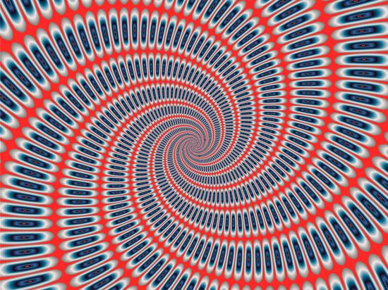blue and red optical illusion spiral print