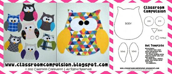 Owl Valentine's Day Template and Bulletin Board Idea